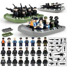 46PCS Building Blocks Set SWAT Military Team Police Armed Assault Army soldiers Weapons Guns Boat Modern War Brick legoings Toy(China)