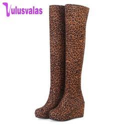 Vulusvalas Для женщин Ботфорты сапоги до колена модные туфли без шнуровки на платформе обувь с круглым носком зимние теплые пикантные Для