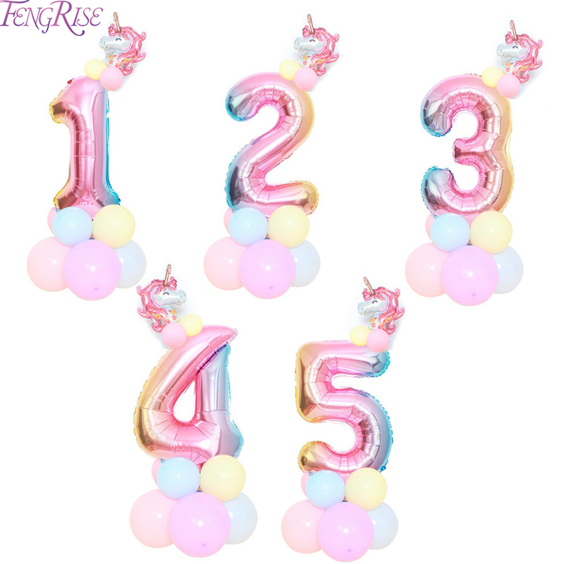 FENGRISE Rainbow Unicorn Balloons  32inch Birthday Ballons Accessories Helium Party Decor Baby Shower