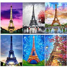 5D DIY Full Diamond Painting French Paris Tower Cross Stitch Round  Mosaic Embroidery