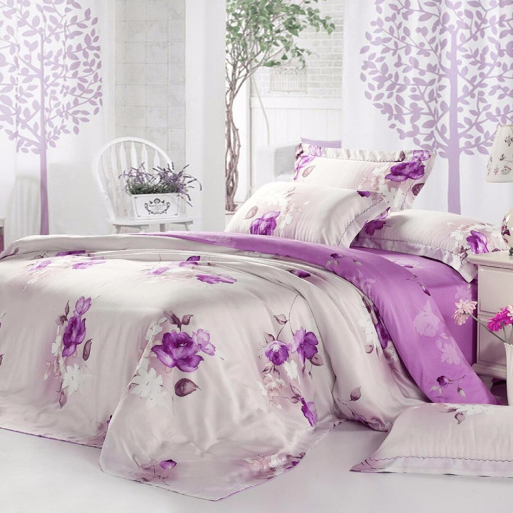 100% Tencel Fabric Purple Flower Bedding Set King Queen Size 4pcs Super Soft Doona Duvet Cover Bed Linen Pillowcase Bed Sets