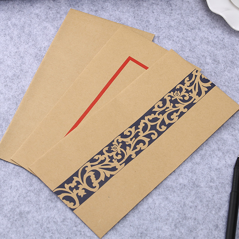 Coloffice 10PCS/Set Creative Greeting Card Letter Papaer Retro Chinese Style Kraft Paper Lacquer Envelopes Storage Blank School