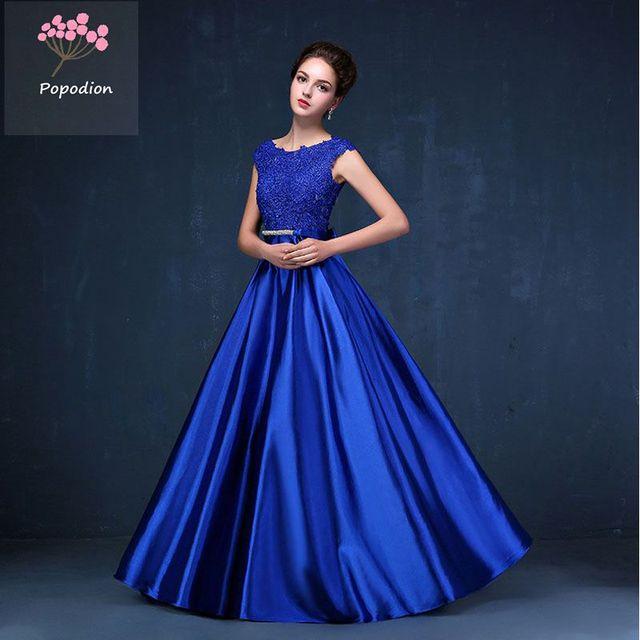 3a4ee72982457 US $56.16 46% OFF|Popodion 9 Colors Evening Dress Lace Long Dress Satin  Elegant Formal Dresses vestido de festa PRO30049-in Evening Dresses from ...