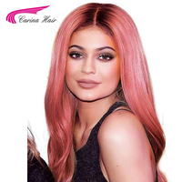 Carina Ombre Pink Color Lace Front Human Hair Wig with Baby Hair Pre Plucked Hairline Remy Hair Brazilian Body Wave Glueless Wig