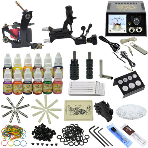 2015 Complete tattoo kit with 2 gun machine tattoo power supply needles ink tip Professional tattoo set MC-KIT-A2004 high quality mk bxq 80b cable wire stripper cutter tool wire pliers clamp china