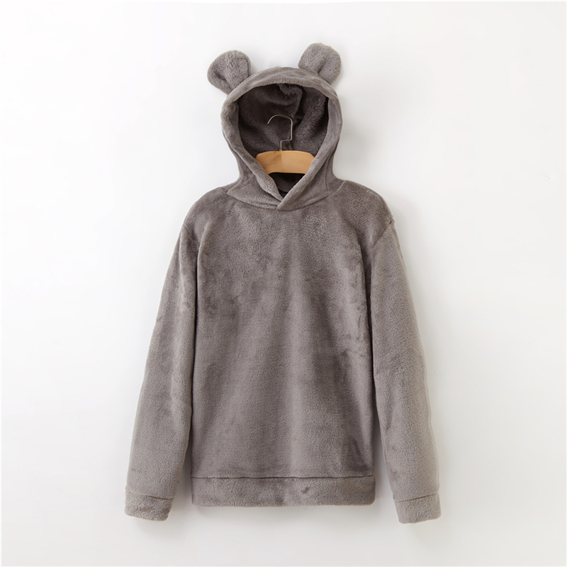 Women's Flannel Hoodies Sweatshirts Lovely With Bears Ears Solid Warm Hoodie Autumn Winter Casual Campus Pullovers Coat 8