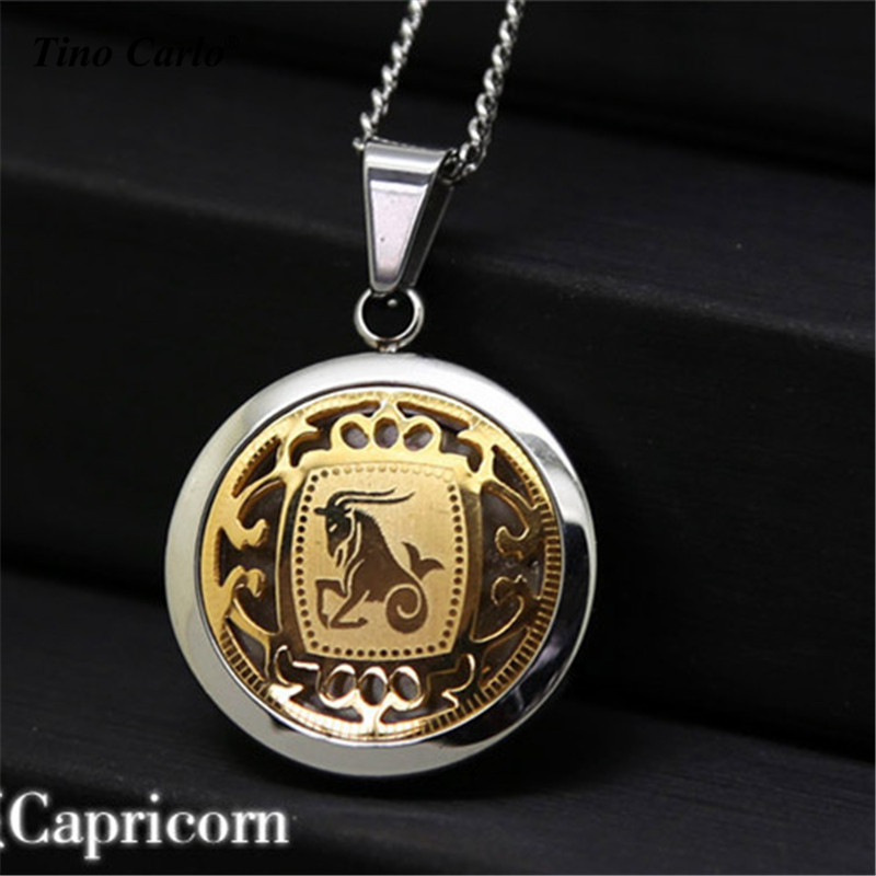 316L Stainless Steel Capricorn Coin Necklace Gold And Silver 2 Tone 12 Signs Of Zodiac Pendant