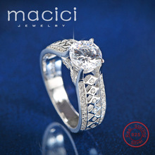 Real 925 Silver Ring Women Element Big Stone Rings For Women Wholesale Wedding Engagement Jewelry New (DW169)