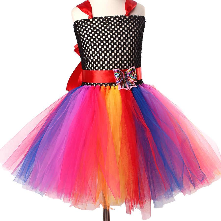 Vestido tutú de tul de princesa de arco iris brillante para cumpleaños boda baile fiesta vestido de fiesta niños vestido mullido con arco iris
