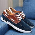 Hot Selling Fashion Men Blue Boat Shoes Trend Round Toe Lace Up Suede Leather Casual Comfort Shoes For Man Size 38-46
