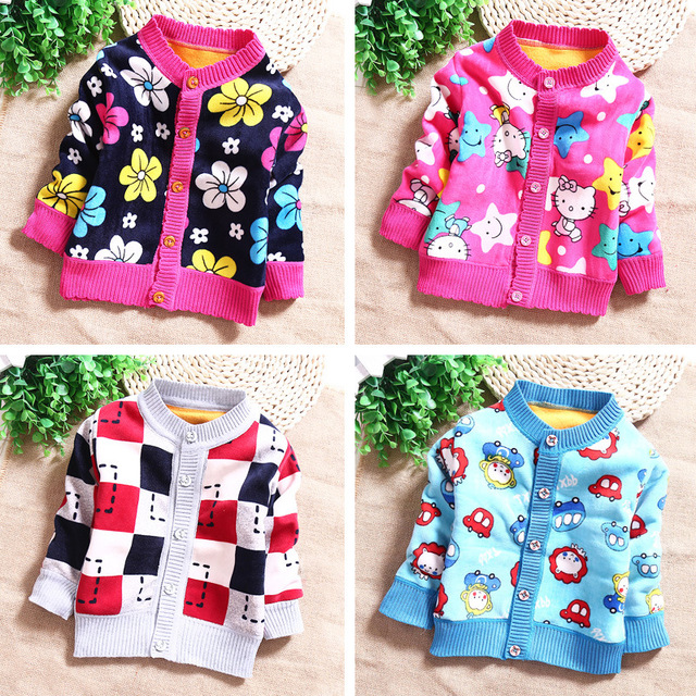 2016 new spring autumn Girls Kids boys Plus cashmere cartoon sweater comfortable cute baby Clothes Children Clothing 0-2