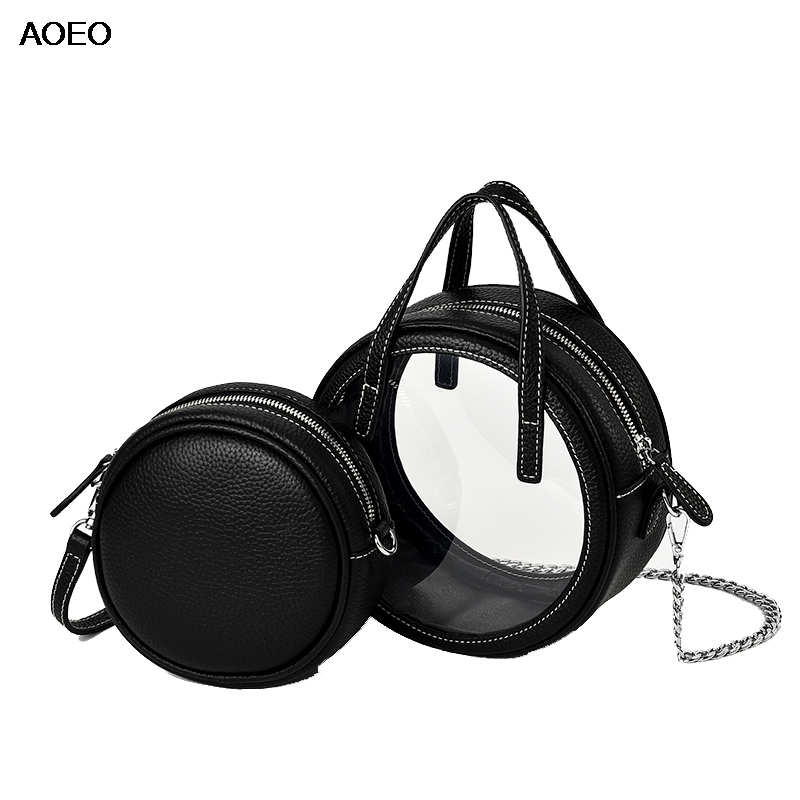 AOEO Circular Genuine Leather Women Shoulder Messenger Bag Two Piece Ladies Crossbody Bag Girl Round Chains