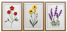 DIY 3D Ribbon Embroidery cross stitch kits sets simple handmade needlework/ Impatiens carnation flower decor picture paintings