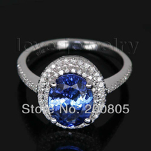 Vintage Ring Tanzanite In 14Kt White Gold Ring Diamond Tanzanite Engagement Ring Oval 7x9mm R0014