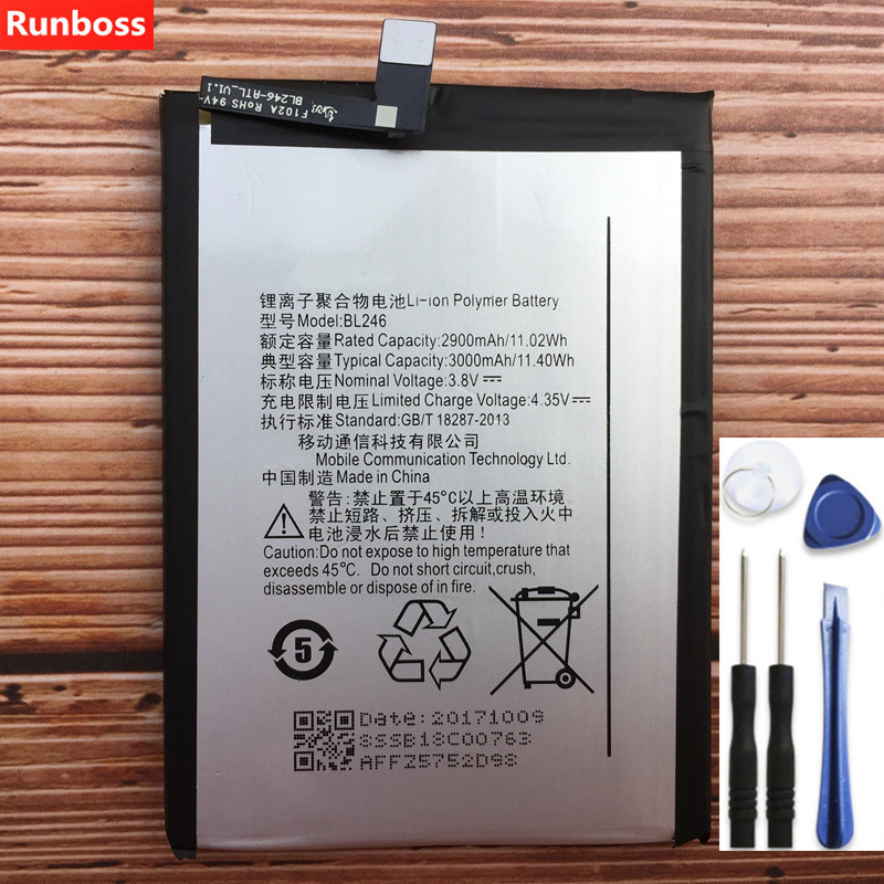 Runboss 100% New Original Real 2900/3000mAh BL246 Battery For Lenovo VIBE  Shot Z90 Z90-7 Z90-3 z90a40 Batteries