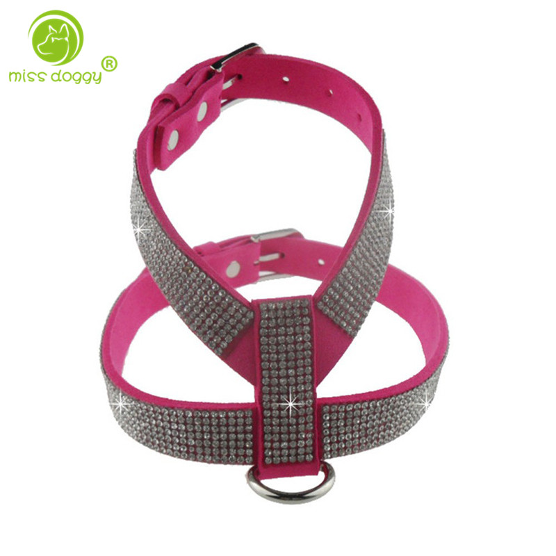 MOQ 1 Pcs 2015 Hot Selling Pet Products soft Korea Suede Leather Bling Bling Full Rhinestone Dog Harness Collar 4 color XS S M L