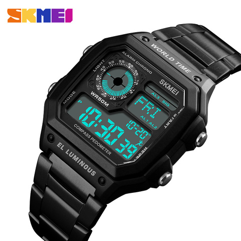 Countdown Compass Sport Watch SKMEI Mens Watches Top Brand Luxury Wrist Watch Men Waterproof LED Electronic Digital Male Watch Karachi