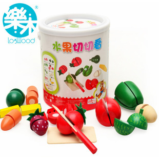 Candice guo wooden toy educational play house mini fruit vegetable simulation model cut game birthday christmas gift bucket set