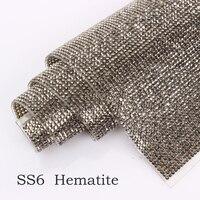 Ss6 Ss8 Hematite Rhinestones Trim Hotfix Adhesive Bottom Rhinestone Mesh 24 40cm 1pc For Garment Bags