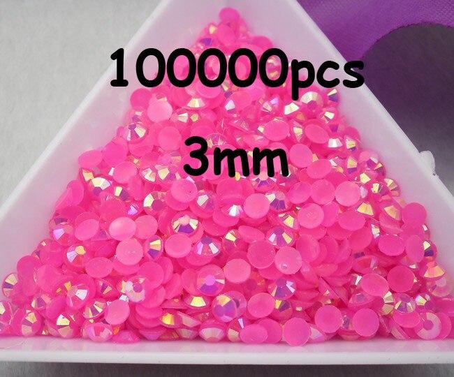 En gros grande quantité 100000 pièces Rose rouge couleur magique AB gelée 3mm résine strass téléphone portable bâton perceuse SS12