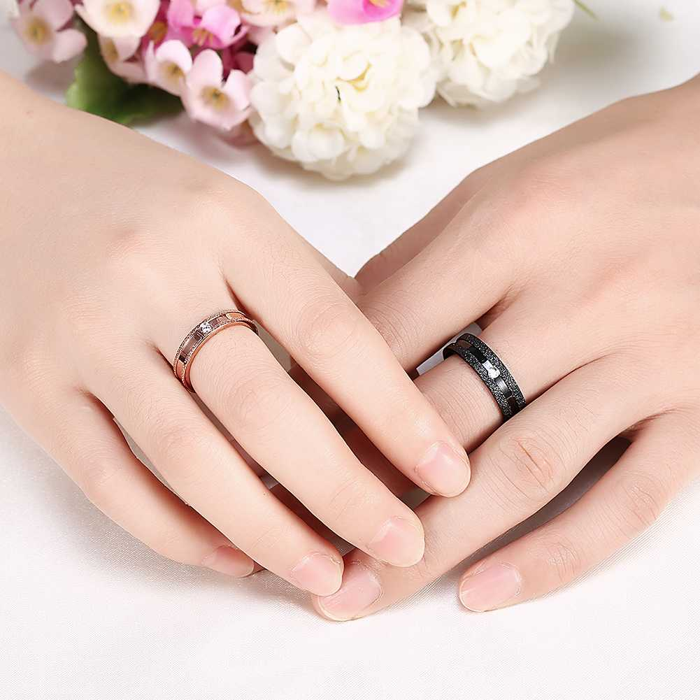 hot 2017 fashion mens titanium steel wedding rings black rose gold color couple ring prices in euros jewellery in rings from jewelry accessories on - Wedding Ring Prices