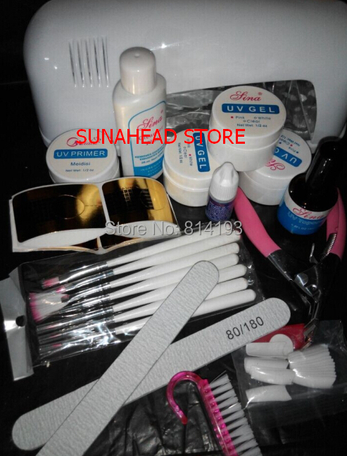 Professional Full Set UV Gel Kit Nail Art Set + 9W Curing UV Lamp Dryer nail base gel glue