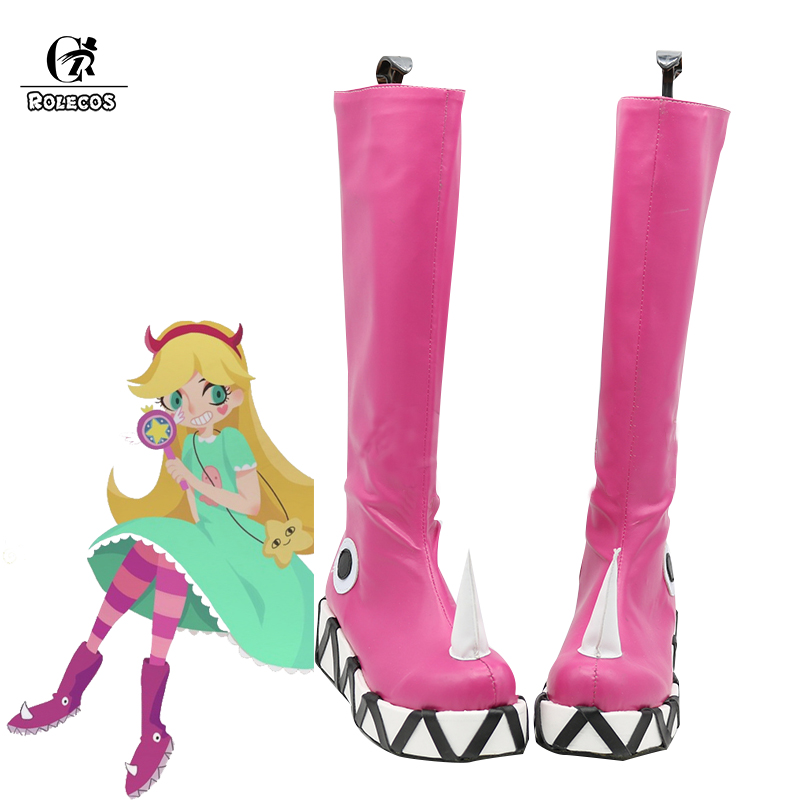 ROLECOS Anime Star vs Cosplay chaussures les Forces du mal femmes Cosplay bottes princesse étoile papillon rose