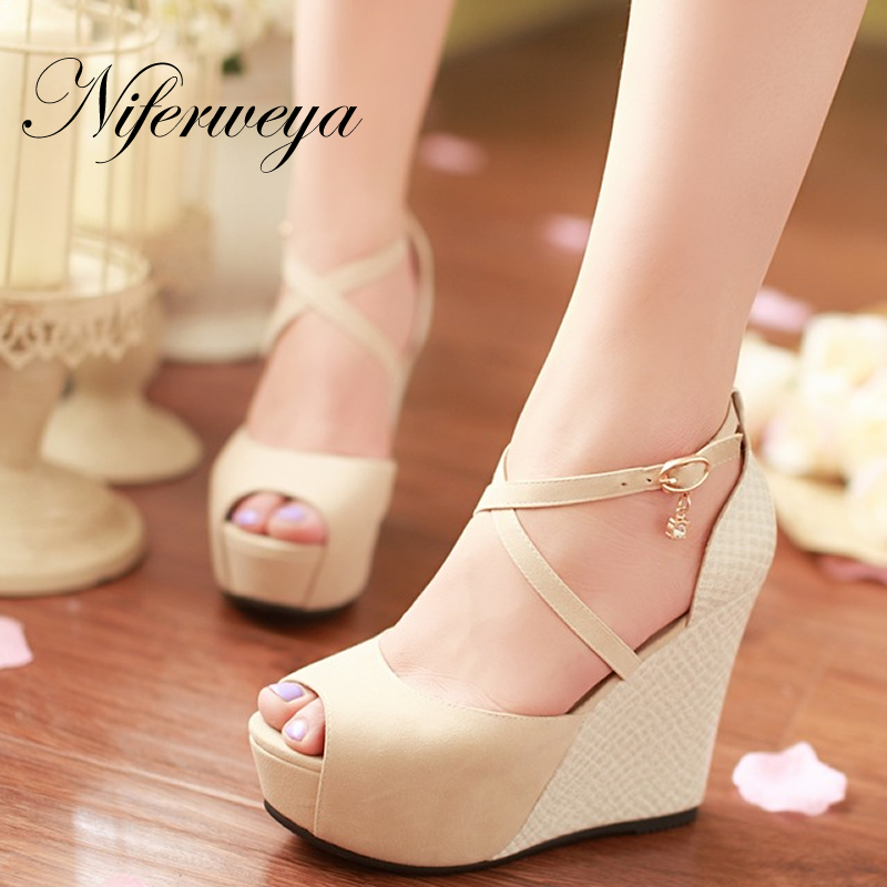 New summer women shoes sexy Peep Toe Platform Wedges high heels big size 32-45 Buckle Strap party sandals zapatos mujer enmayer woman high heels sandals shoes women summer peep toe buckle strap fashion lady wedges platform shoes buckle strap cr30