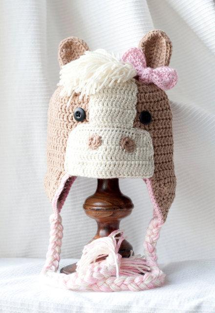 Freies verschiffen, Häkeln Pferd Hüte mit Ohrenklappen, Pony Hut ...
