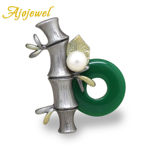 Ajojewel Vintage Retro Chinese Jade Bamboo Green Brooches For Women Elegant Simulated Pearl Ethnic Jewelry Gift