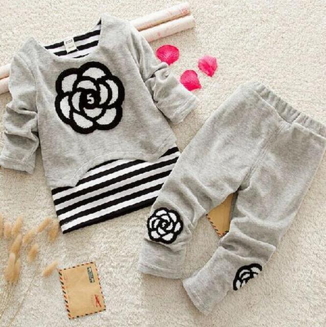 Осень зима девочки одежда наборы девушки бархат руно теплые костюмы устанавливает дети одежда малышей новорожденных девочек наборы