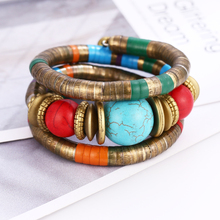 WNGMNGL Vintage Natural Green Stone Beads Bracelet&Bangles Set Ethnic Tirbal Maxi Bohemia Wood Beaded Circels Jewelry
