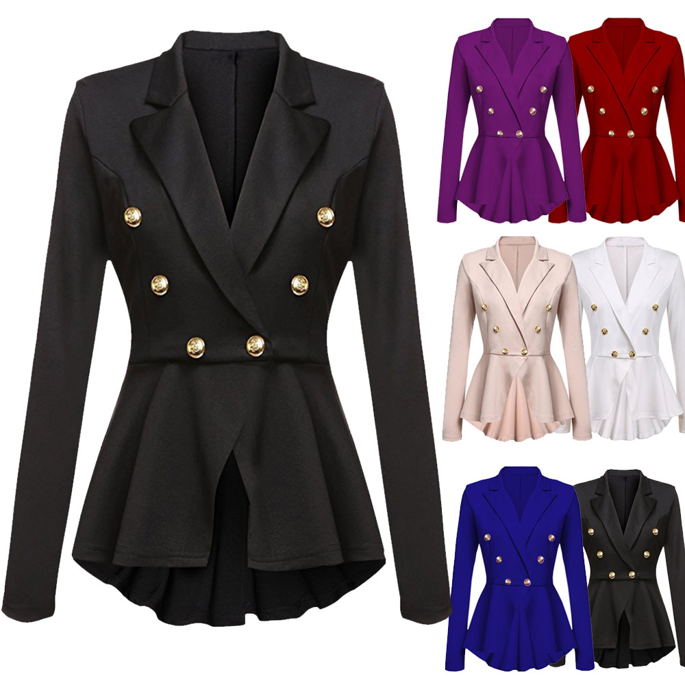 2019 Blazer Jacket Women Long Sleeve Blazer Ruffles Peplum Button Casual Jacket Coat Outwear Plus Size Blazer Damen S-XXL Z0527