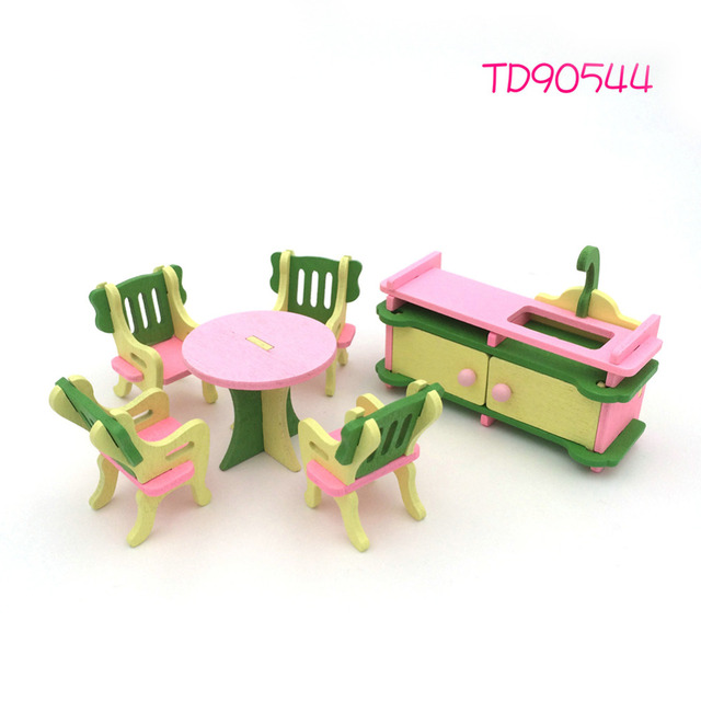 1 Set Cute Dollshouse Set Pretend Play Toy Educational 3D Doll House Doll  House Miniature Wooden