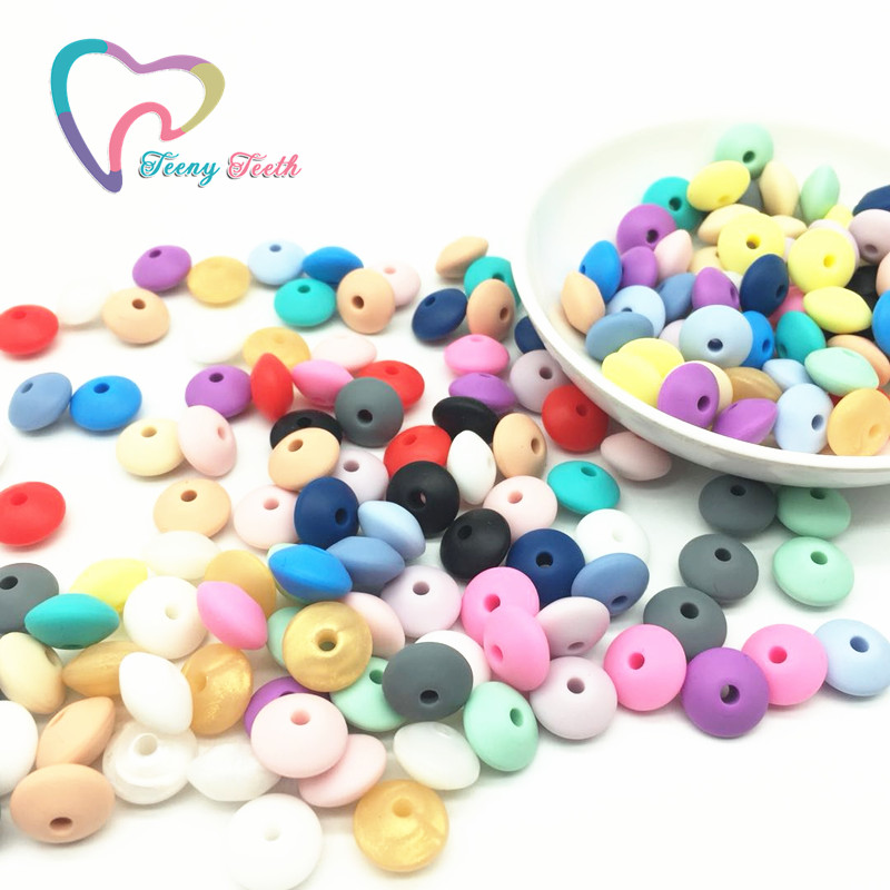 Teeny Teeth 50PCS Silicone Beads Baby Teethers Lentil Beads BPA Free Baby Teething Toys Chewable Abacus Beads For Necklace Make