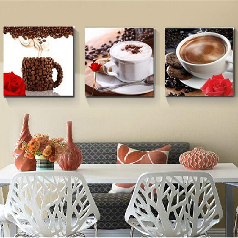 Set Of 3 Coffee Cup Canvas Wraps: Canvas HD Prints Paintings Home Decor Framework 3 Pieces
