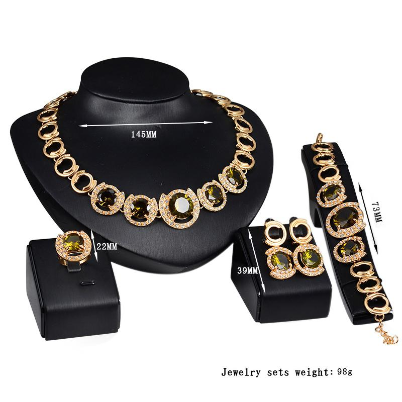 XIUFEN Europe and America Stylish Jewelry Set, Luxurious Alloy Four-piece of Necklace Ear Studs Bracelet Ring