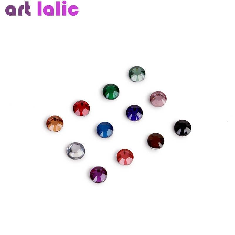 Nova mistura 12 cores 2mm contas redondas dicas da arte do prego strass glitter acrílico uv gel gemas decoração com caso duro