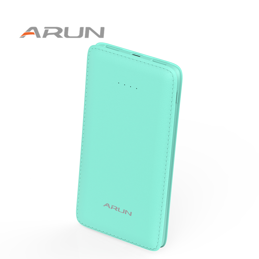 Arun 10000mah colorful mobile fast charger dual usb power bank with led torch and led indicator