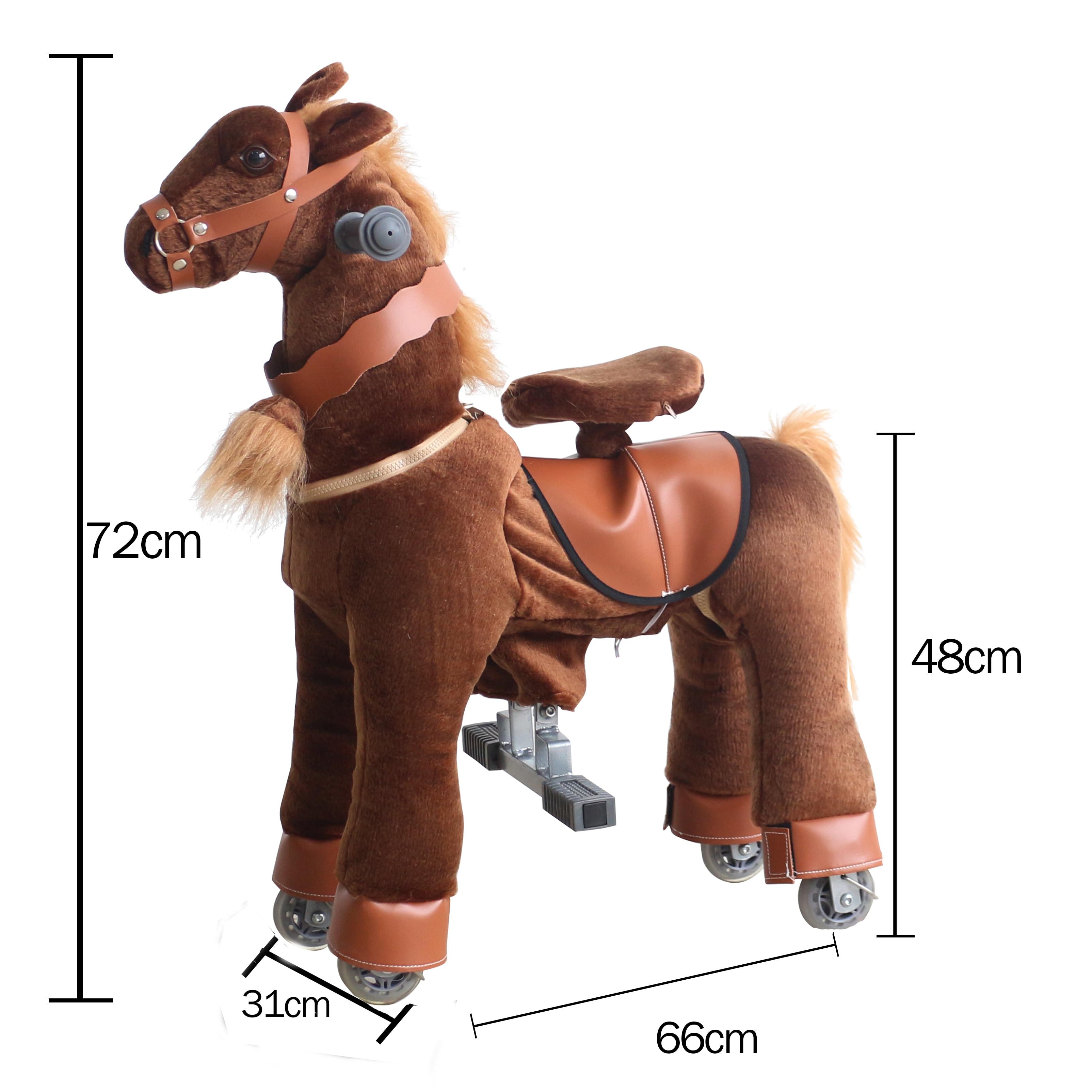 Équitation Animal mécanique jeu de course de chevaux monter sur des jouets de cheval pour les enfants âgés de 3-7 ans brun profond petit poney cadeaux pour enfants - 6