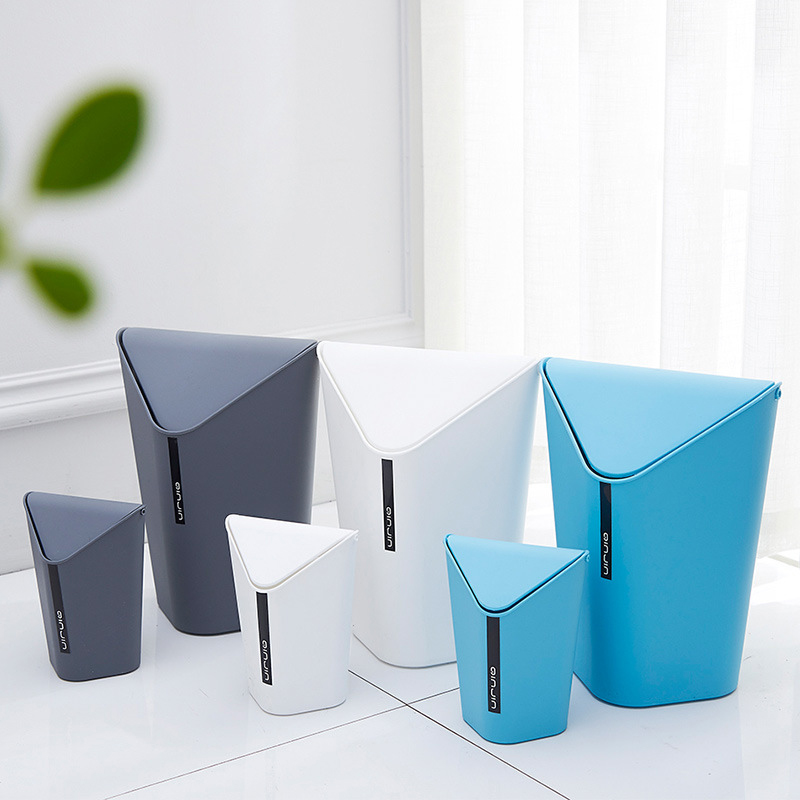 Portable Creative Living Room Rolling Cover Type Desktop Trash Can Cuisine Plastic Waste Bin Toilet Office Paper Basket Lixeira