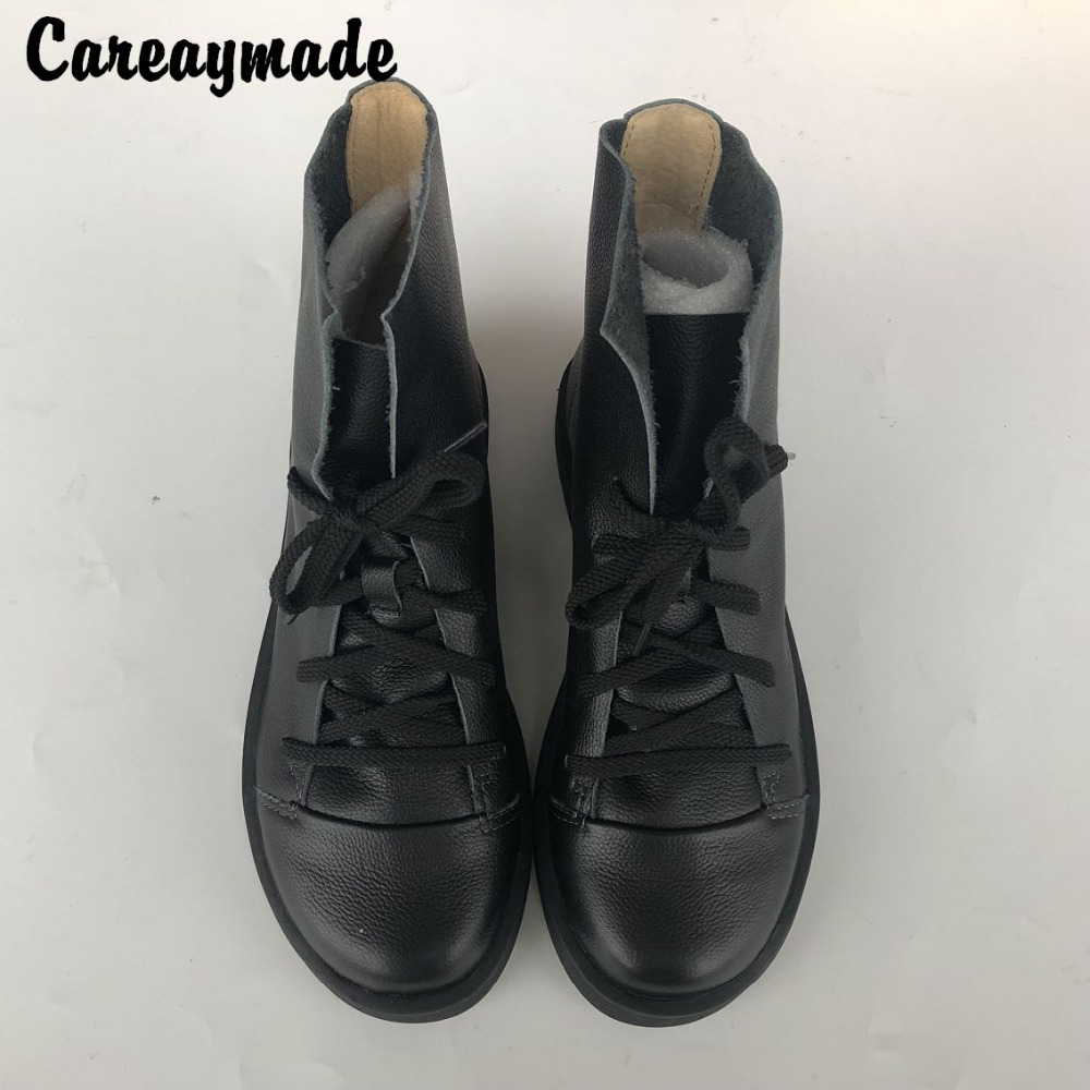 Careaymade Hot new handmade head layer leather flat bottom short boots cowhide RETRO art student leisure