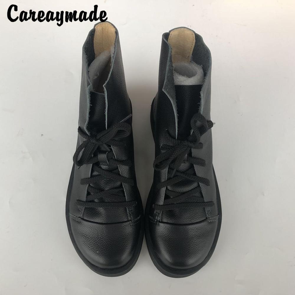 Careaymade Hot nieuwe handgemaakte hoofd laag leer platte bodem korte laarzen, koeienhuid RETRO art student leisure vrouwelijke laarzen K07-in Enkellaars van Schoenen op  Groep 1