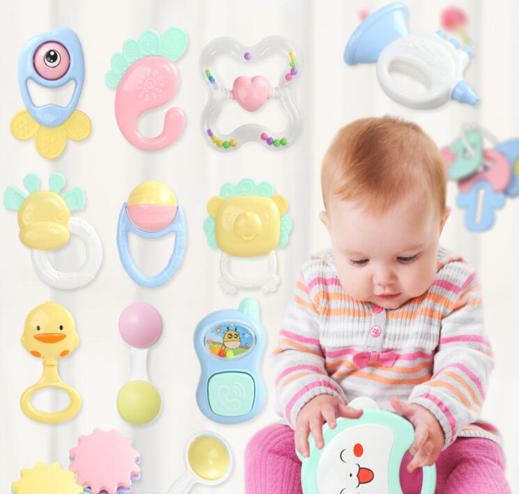 Baby Toys 0-12 Months Plastic Type Montessori Toys Rattles For Newborn Cartoon Bell Children 1pc Sleeve Teether Let's Make