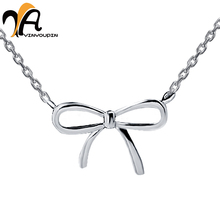 YayinYoupin 925 Sterling Silver Lovely Pendant Necklace Women Jewelry Bowknot Collar Necklace Female Birthday Gift For Lover