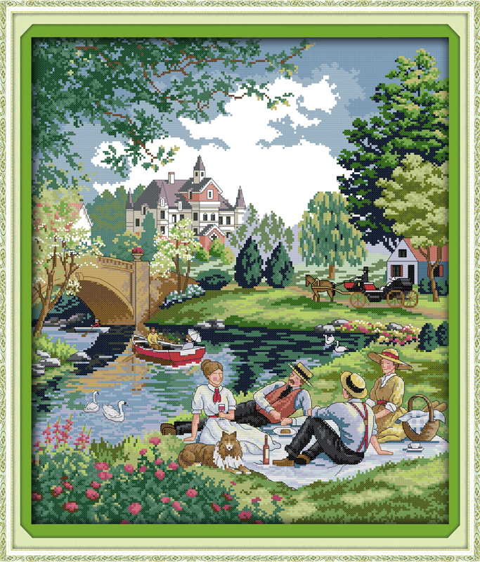 A picnic in the suburbs, counted printed on fabric DMC 14CT 11CT Cross Stitch kits,embroidery needlework Sets, Home Decor