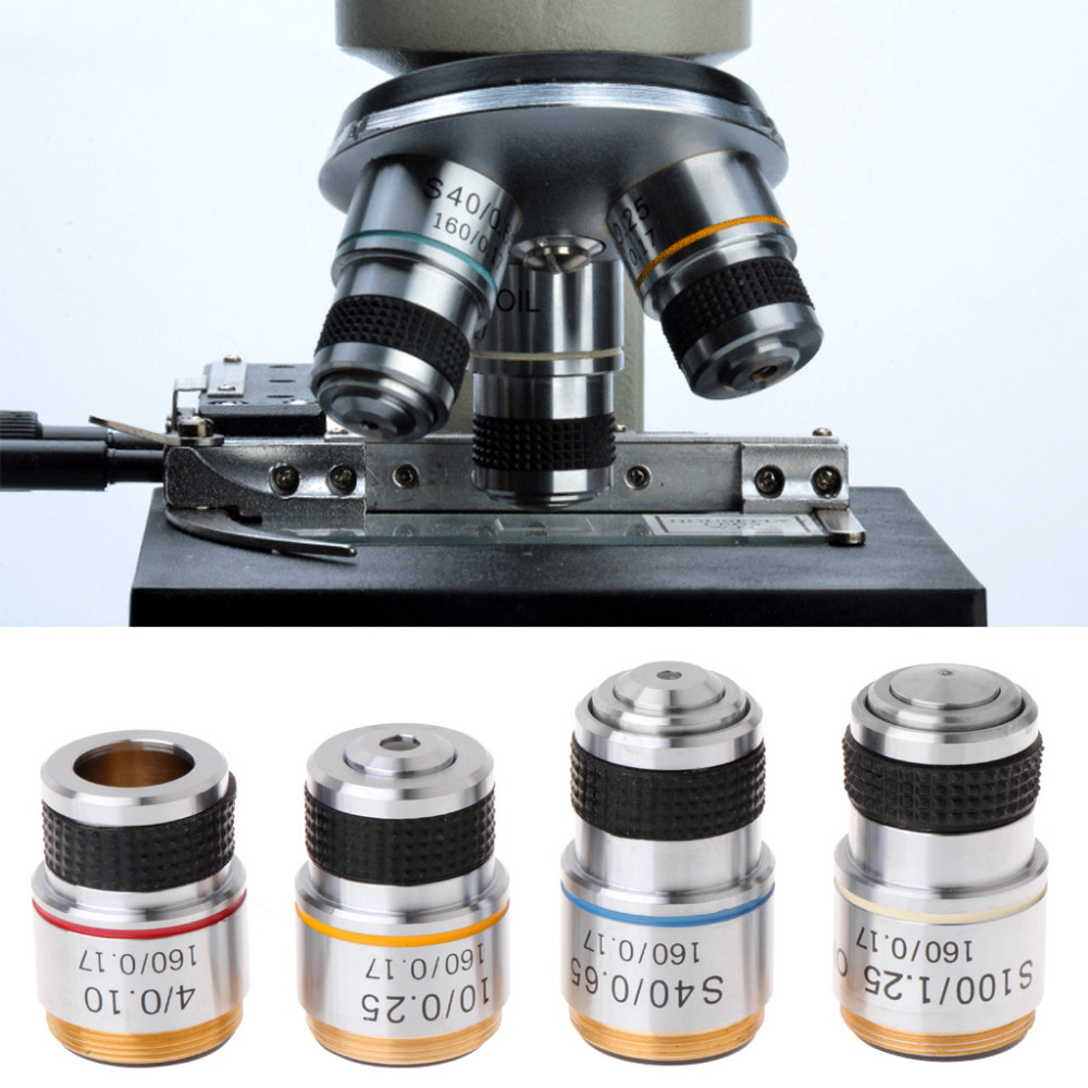 4X 10X 40X 100X Achromatic Objective Lens For Biological Microscope 185