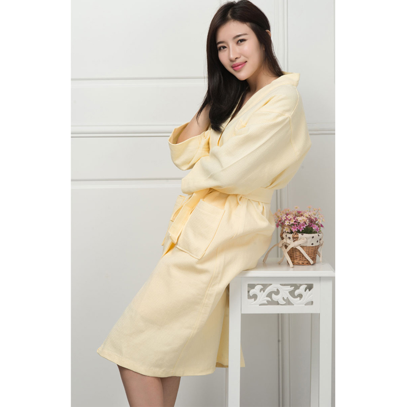 Cotton Bathrobe Mommy and Dady Kimono Hotel Bathrobe Waffle Sweat Evaporate Couples Bath Robe YF103