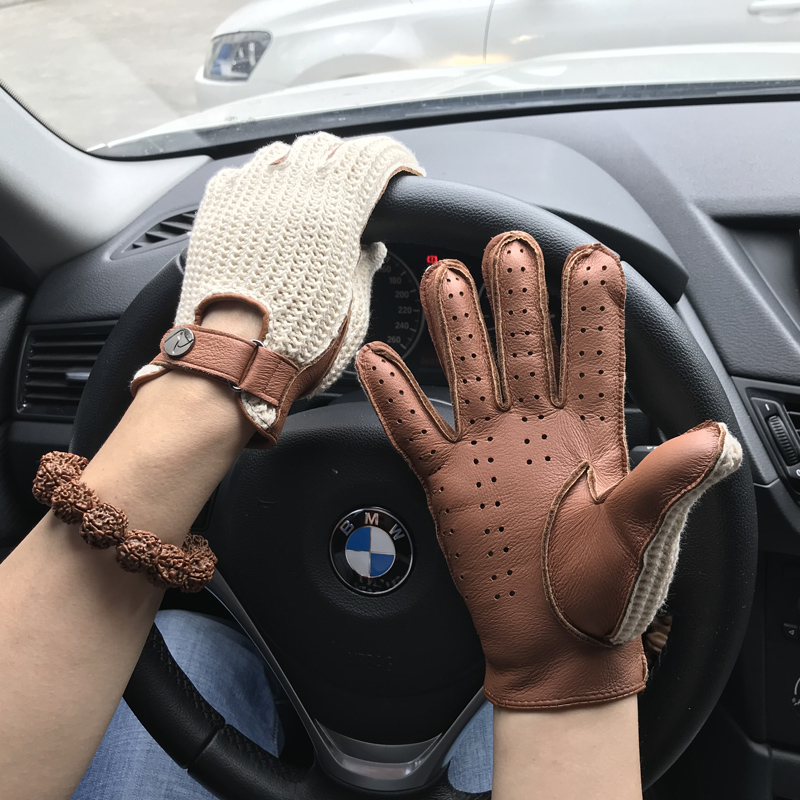 Man Goatskin Gloves Knitted + Leather Gloves Male Breathable Unlined Locomotive Driving Gloves NEW Fashion Men Leather Gloves