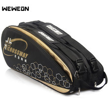 9Pcs Professional Racquet Sports Bag Large Tennis Bag Racket Backpack 2019 Badminton Bag/Accessories for Shoes Stroage(China)